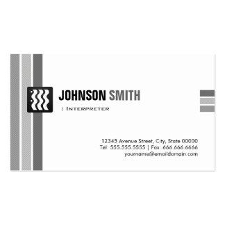 Intérprete - blanco negro creativo tarjetas de visita