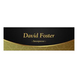 Intérprete - damasco negro del oro tarjetas de visita mini