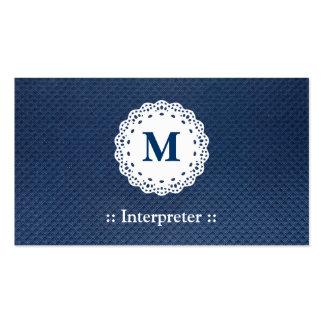 Intérprete - modelo del azul del monograma del tarjetas de visita