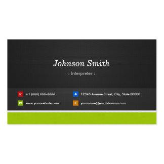 Intérprete - profesional y premio tarjetas de visita