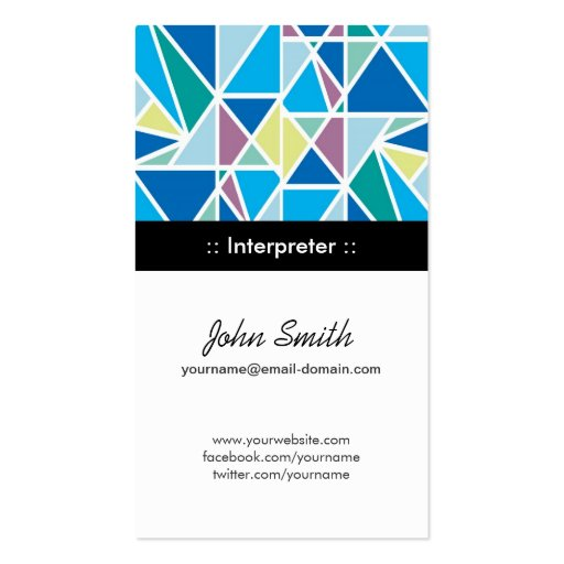 Interpreter Blue Abstract Geometry Double-Sided Standard Business Cards (Pack Of 100)