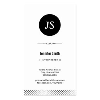 Interpreter - Clean Black White Double-Sided Standard Business Cards (Pack Of 100)