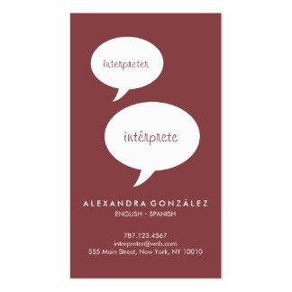 Interpreter Custom Color Speech Bubble Business Card