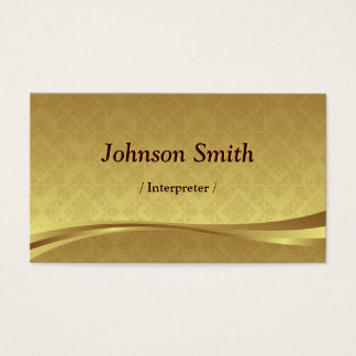 Interpreter - Elegant Gold Damask Business Card