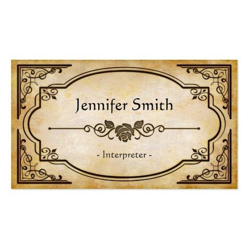 Interpreter - Elegant Vintage Antique Business Card