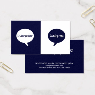 Interpreter English - Spanish Business Card