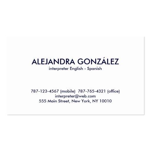 Interpreter English Spanish Double Sided Standard