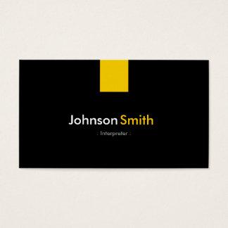 Interpreter - Modern Amber Yellow Business Card