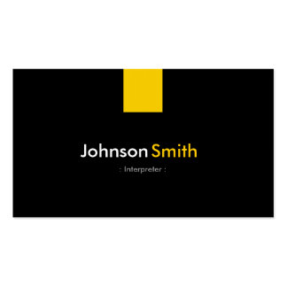 Interpreter - Modern Amber Yellow Double-Sided Standard Business Cards (Pack Of 100)