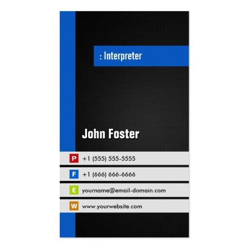 Interpreter - Modern Stylish Blue Business Cards