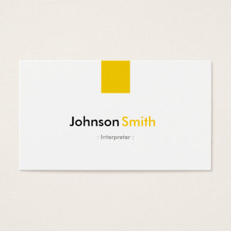 Interpreter - Simple Amber Yellow Business Card
