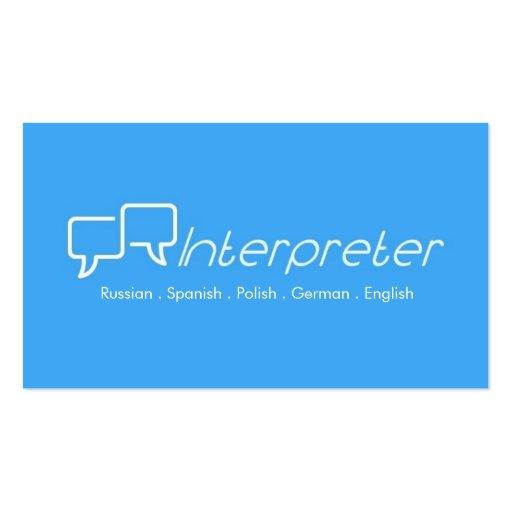 Interpreter, Translator, Business Card