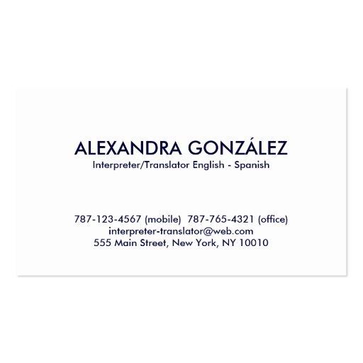 Interpreter translator english spanish feminine business for Feminine business cards