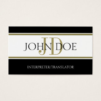 Interpreter/Translator Gold Stripe W/W Business Card