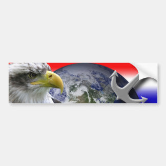 Interpretive Eagle Globe and Anchor Bumper Stickers