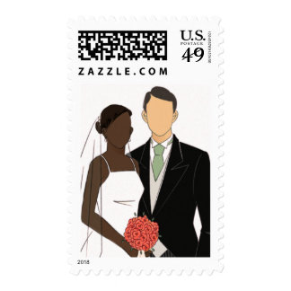 Interracial Bride and Groom Two Postage Stamps