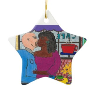 Interracial Couple R Rated Christmas Ornament