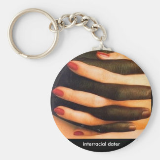 Interracial dater basic round button keychain