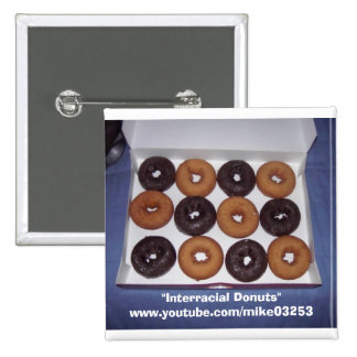 Interracial Donuts Pinback Button