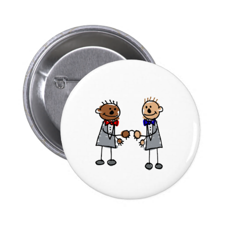 Interracial Gay Couple 2 Inch Round Button