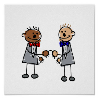 Interracial Gay Couple Poster