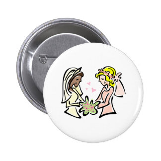 Interracial Lesbian Brides Button
