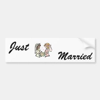 Interracial Lesbian Wedding Bumper Sticker