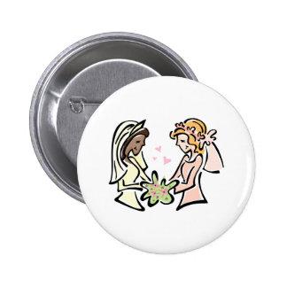 Interracial Lesbian Wedding Button