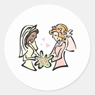 Interracial Lesbian Wedding Classic Round Sticker