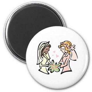 Interracial Lesbian Wedding Fridge Magnets