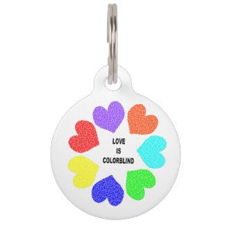 Interracial Love Rainbow Hearts Custom Dog Tag