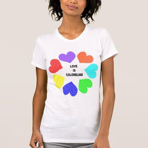Interracial Love Rainbow Hearts Ladies T Shirt
