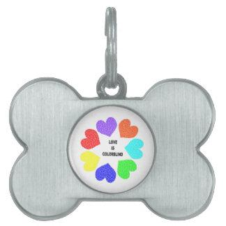 Interracial Love Rainbow Hearts Pet Tag