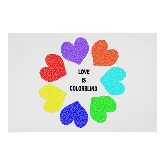 Interracial Love Rainbow Hearts Poster
