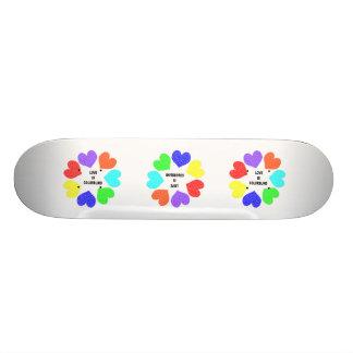 Interracial Love Rainbow Hearts Skateboard