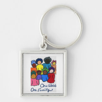 Interracial, Multicultural Silver-Colored Square Keychain