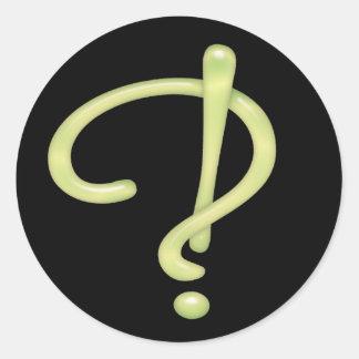 Interrobang Green Glass Black RND Round Sticker