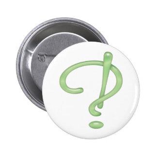 Interrobang! Green Glass Pinback Button
