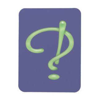 Interrobang! Green Glass Rectangle Magnets