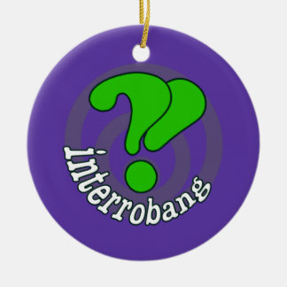 Interrobang Pop Art Blurple Double-Sided Ceramic Round Christmas Ornament