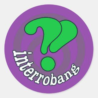 Interrobang Pop Art Design - Purple & Green Round Sticker