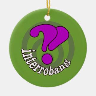 Interrobang Pop Art Green Double-Sided Ceramic Round Christmas Ornament