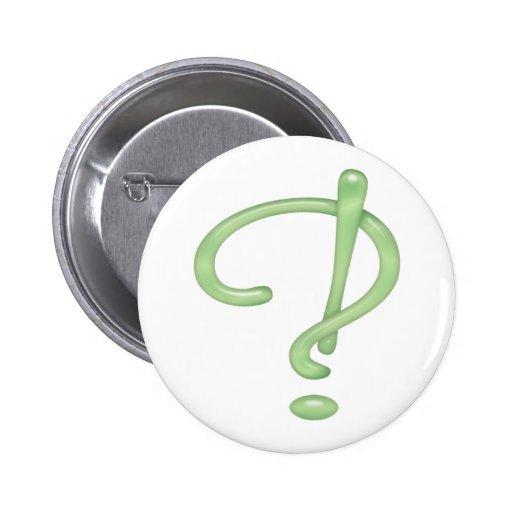 ¡Interrobang! Vidrio verde Pins