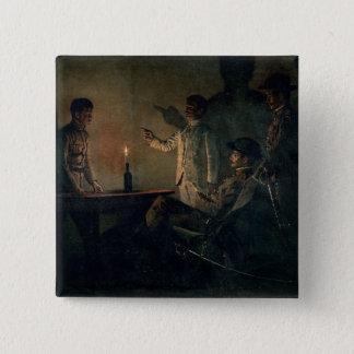 Interrogation of a deserter pinback button