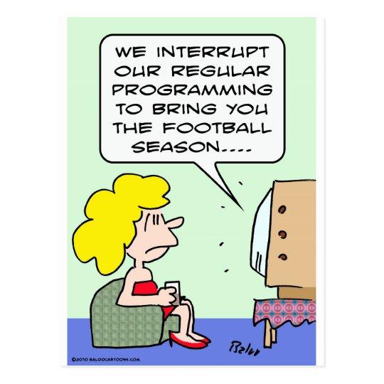 interrupt football season regular program postcard