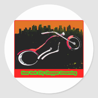 Interruptor de New York City que soña jGibney rojo Pegatina Redonda