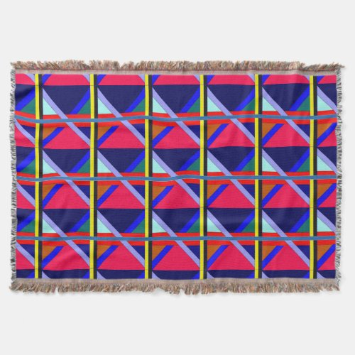 Intersecting Liens of Color Throw Blanket