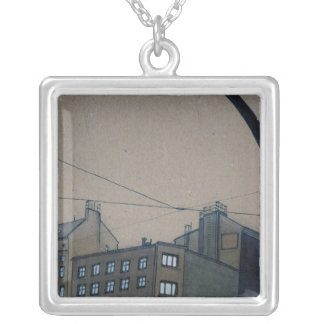 Intersection 2 square pendant necklace