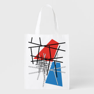 Intersection of Lines & Planes - Abstract Art Reusable Grocery Bag