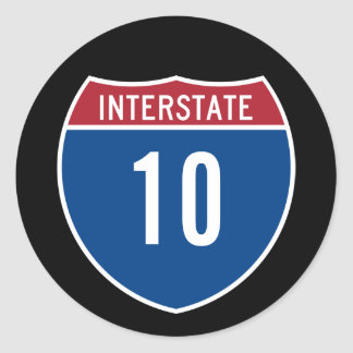 Interstate 10 classic round sticker